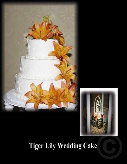 wedding cake with tiger lilies graphic affairs 26974